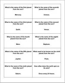 astronomy and the planets trivia cards student handouts