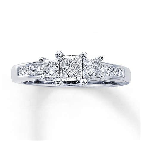 three ring 1 ct tw princess cut 14k