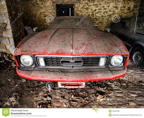 rusty car photography old retro rusty car in village garage stock photo image