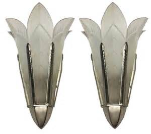 deco wall sconces a pair of signed sabino deco wall sconces