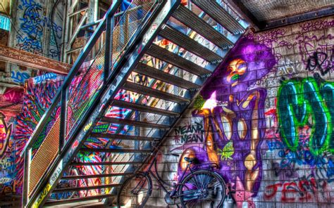 colorful urban wallpaper graffitit color stairs urban art psychedelic wallpaper