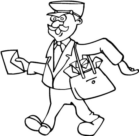 printable coloring pages jobs postman bring a lot of letters on jobs coloring pages
