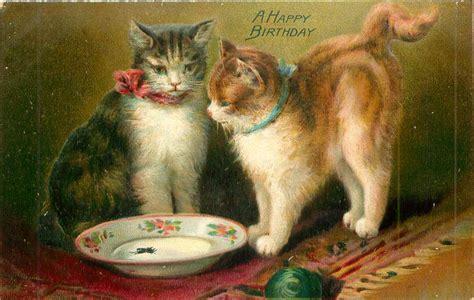 happy birthday  cats   empty bowl ball front centre tuckdb postcards