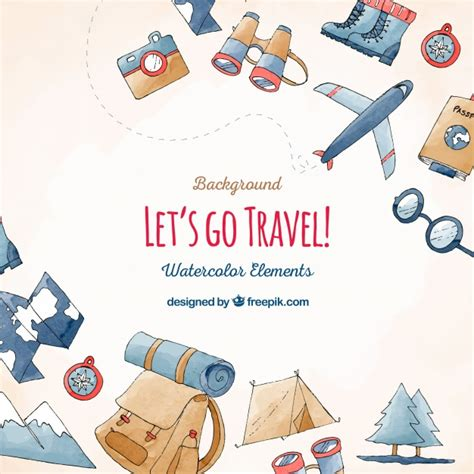 Elements Of My Vacation by Travel And Vacation Elements Background Vector Free