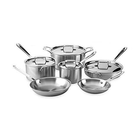 bed bath and beyond pots and pans all clad d5 brushed stainless steel 10 piece cookware set