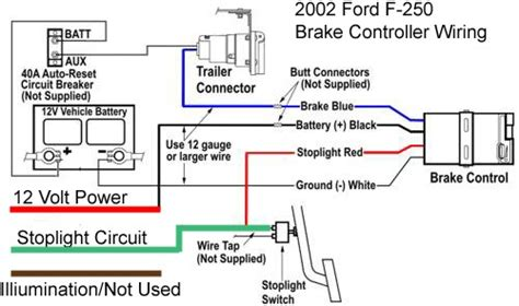 ford f 250 trailer wiring diagram wire diagram for installing a voyager brake controller on a 2002 ford f 250 etrailer