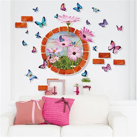3d butterflies wall sticker living room bedroom background 3d stereo butterfly round brick circle flowers wall