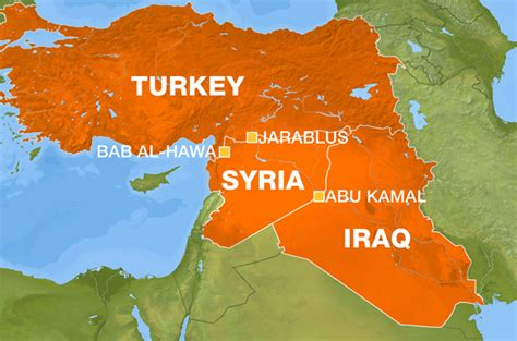 Turkey Syria Map syria turkey hits islamic state of iraq convoy near
