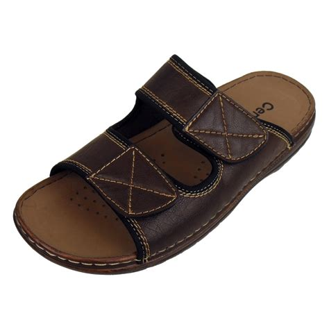 mens summer sandals mens mules sandals faux leather smart slip on velcro
