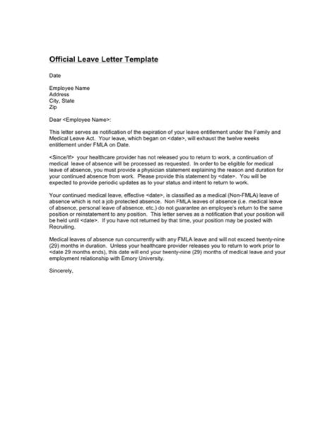 Official Leave Letter Format Pdf paternity leave letter template for free tidyform