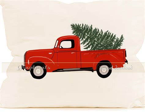 red christmas vintage pick ups for sale truck tree instant clip digital by graphicals