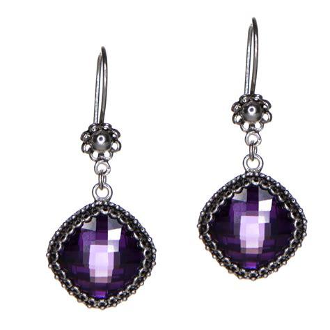 Cz Drop Earring purple cz sterling silver drop earrings