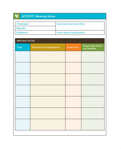 meeting note taking template search results for minute taking template calendar 2015