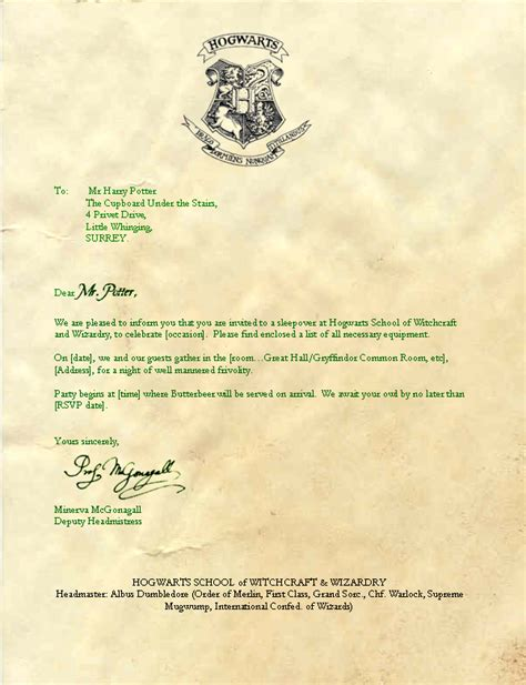 Hogwarts Acceptance Letter Nz hogwarts invitation template invitation template