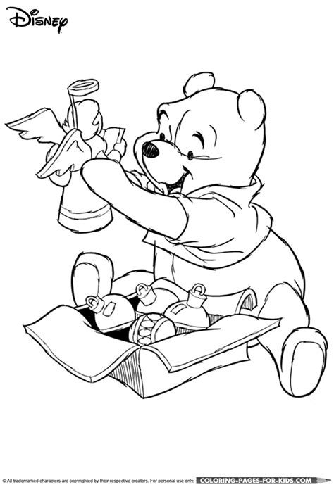disney christmas coloring page winnie the pooh christmas