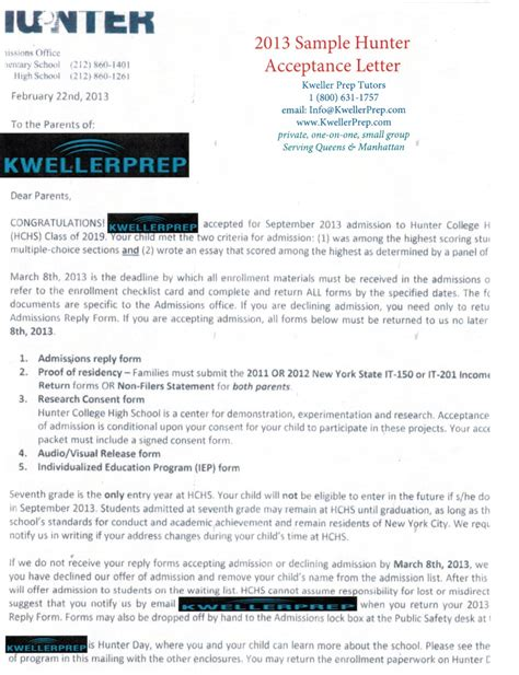 Manhattan College Acceptance Letter Kweller Prep Nyc Middle School High School And College Success Entrance