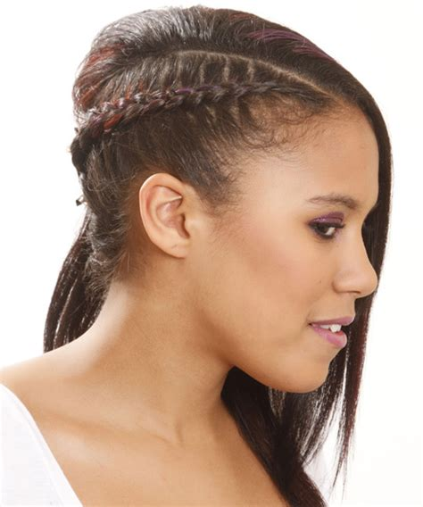 Half Up Long Straight Casual Braided Half Up Hairstyle   Black