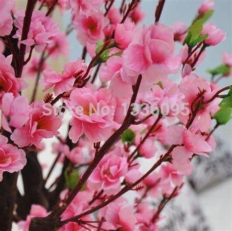 6pcs peach blossom simulation flowers artificial flowers 2017 single simulation silk artificial peach blossom