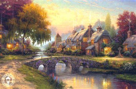 Country Cottage Cross Stitch Landscape Paintings Wholesale Oil Paintings Landscape Oil