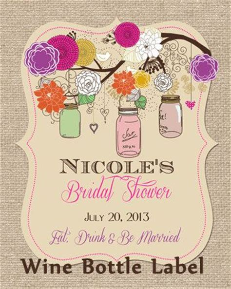 free printable bridal shower wine labels rustic mason jar bright summer colors bridal shower wine