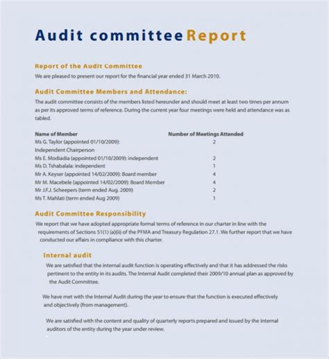 audit report template sle committee report template 8 free documents