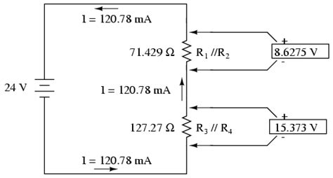 three resistors connected in parallel the individual voltages labeled analysis technique series parallel combination circuits