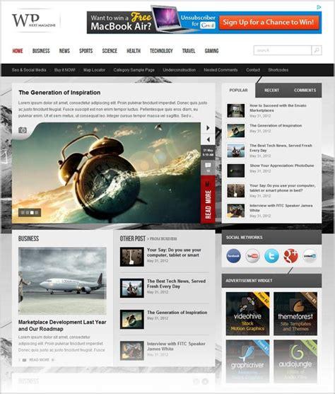 25 free premium responsive magazine wordpress themes for