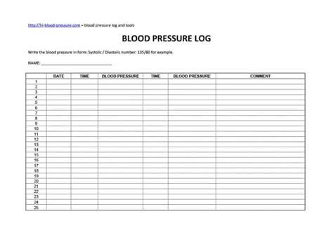 Printable Blood Pressure Log
