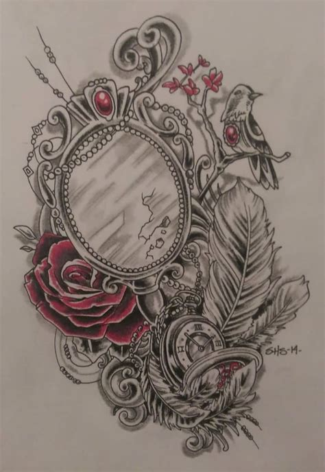 victorian rose tattoo best 25 mirror tattoos ideas on