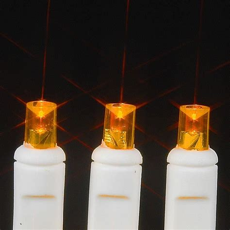 amber orange led net lights 4 x 6 on white wire