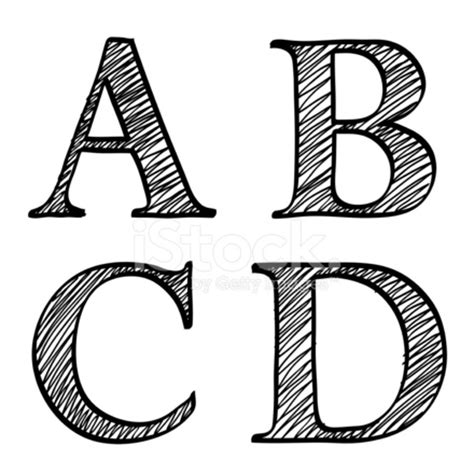 Letter Abcd doodle scribble sketch alphabet letters abcd stock vector