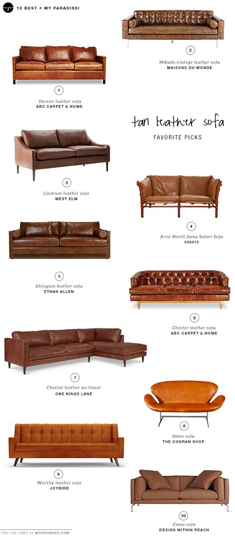 types of couches and chairs 10 best tan leather sofas my paradissi