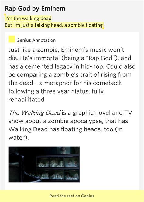 eminem zombie lyrics i m the walking dead but i m just a talking head a