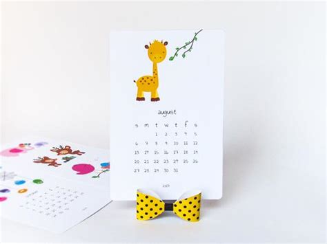 2017 printable desk calendar diy animal calendar