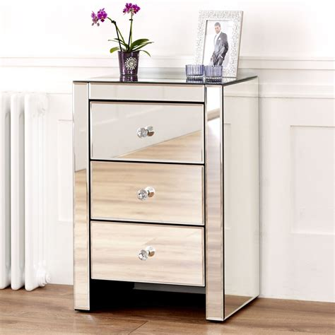 Glass Table Ls For Bedroom by Venetian Mirrored Glass 3 Drawer Bedside Table Bedroom
