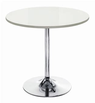 White Bistro Table White High Gloss Trumpet Base Cafe Bistro Table