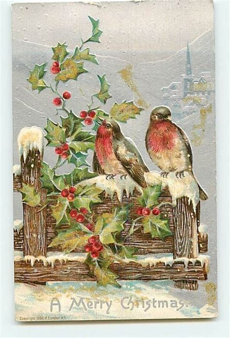 christmas welcome birds 5152 p sander c1906 birds on fence snow church silver embos natal snow