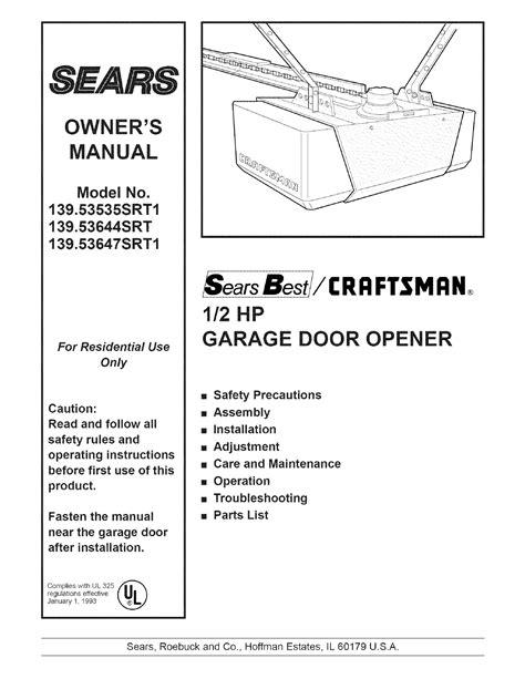 sears garage door opener srt user guide