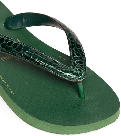 Hilfiger Flip Flops 865 by Valentino X Havaianas Croc Skin Flip Flops In Green For
