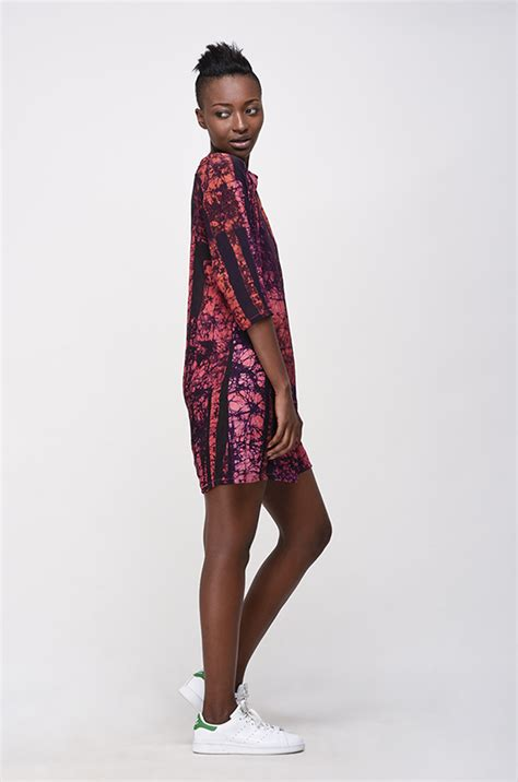 Duro Dresses by Osei Duro Linter Dress In Carmine Parallel Garmentory