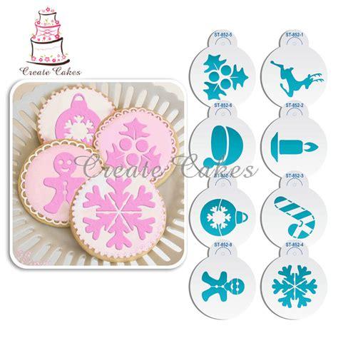 printable christmas cake stencils aliexpress com buy 8pcs deer snowflake christmas cake