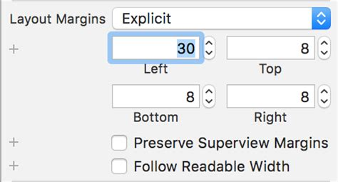 xcode layout margins xcode explicit layout margins defined in storyboard are