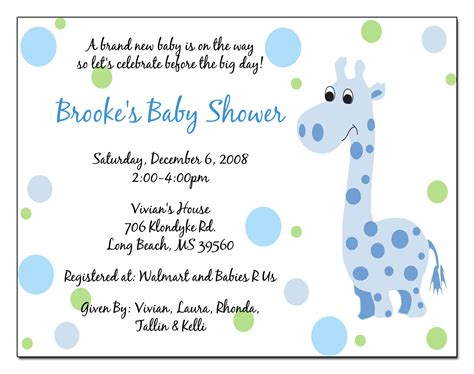 wording for baby shower invitations template best template collection