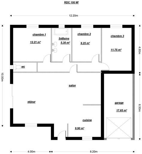plan maison 1 chambre plan pour une maison de plain pied