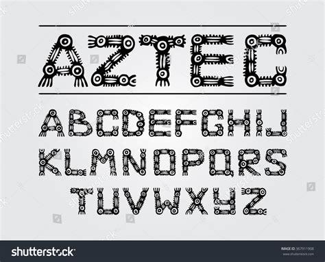 ethnic black of on grey stock vector image aztec ancient ethnic black alphabet on stock vector