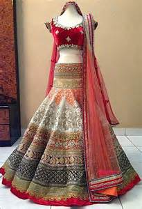 buy off white embroidred brocade wedding lehenga with blouse online