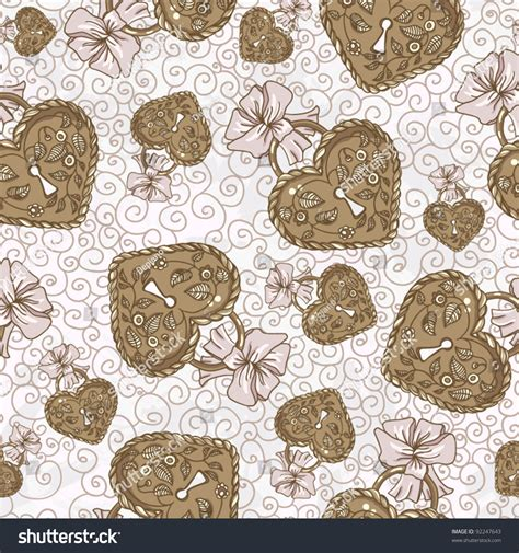 pattern lock color vector seamless pattern with heart shaped lock vector