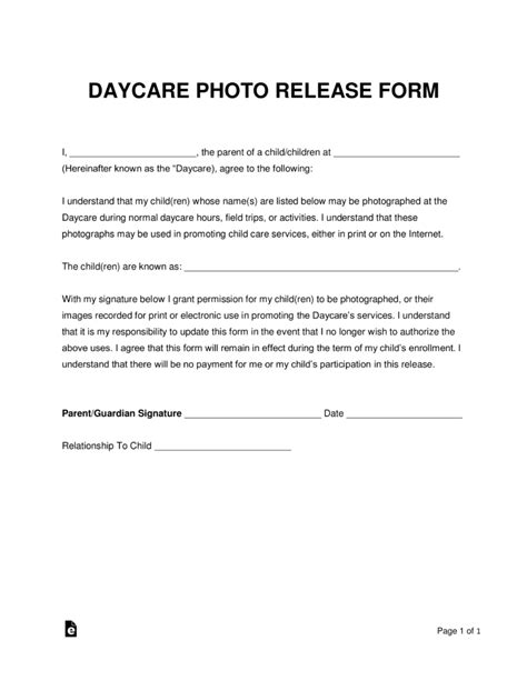 Free Daycare Photo Release Form Word Pdf Eforms Free Fillable Forms Child Care Waiver Template