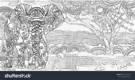 african landscape coloring page beautiful african landscape elephantcoloring pages stock
