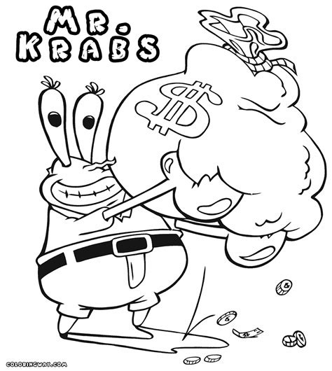 mr krabs coloring pages coloring pages to download and print